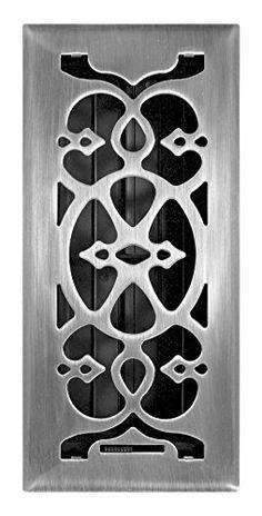 Accord Amfrsnv414 Victorian Floor Register 4 Inch X 14 Satin Nickel