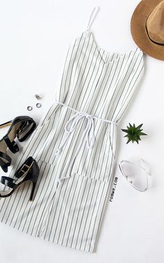 White Spaghetti Strap Vertical Striped Split Dress With Drawstring