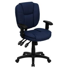 "This ""Leo"" cool desk chair (in Dark Blue) is a feature-rich multi-functional ergonomics chair at a great price. Adjust the seat, back and arm height, as well as the tilt/angle with infinite lock, until you have created your perfect seated experience. The heavy duty frame and dual wheel casters are built to last. The ""Leo"" chair also features a thickly padded pillow-top back and seat so you can enjoy the cushy padding throughout your working day."