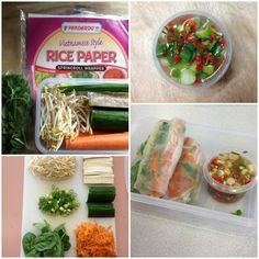 Rice Paper Rolls with Chili Sauce  Ingredients for Rolls:  Rice Paper Wrappers, Firm Tofu, Carrots (grated), Bean Sprouts, Baby Spinach, Shallots, Cucumber