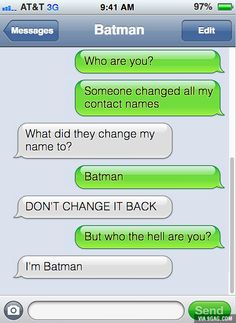 Hilarious Text Of The Day ft. Batman Hilarious Text Of The Day ft. Batman – Batman Funny – Funny Batman Meme – – Hilarious Text Of The Day ft. Batman The post Hilarious Text Of The Day ft. Batman appeared first on Gag Dad. Funny Texts Jokes, Text Jokes, Funny Text Fails, Funny Text Messages, Stupid Funny Memes, Funny Relatable Memes, Haha Funny, Text Pranks, Text Message Fails