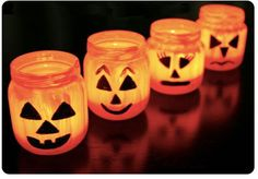 craft idea gerber jar   baby food jar jack-o-lanterns