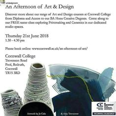 If you would like to join the  FREE taster day on Thursday at Cornwall college you can Book in online and enjoy a free afternoon of printmaking and pottery ... https://ift.tt/2I7fXiC . . . . #free #tasterday #cornwallcollege #artanddesign #printmaking #cornwall #bahons #foundation #ual #diploma #fineart #ceramics #finearttextiles #graphicdesign #interdisciplinary #contemporarycraft #art&design #paintingcornwall