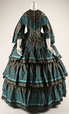Image 1 of 2: 1854–56; British, silk. Length at CB (a): 21 in. (53.3 cm) Length at CB (b): 44 in. (111.8 cm)
