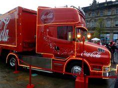 Iconic Coca-Cola truck in Huddersfield, December 2014