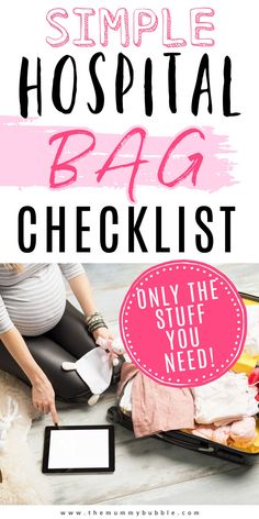 A simple hospital bag checklist for pregnant ladies featuring only the stuff you actually need. Plus tips for packing everything to make your life easier when in labor. Hospital Bag Essentials, Hospital Bag Checklist, Maternity Pads, Emergency Bag, Going Home Outfit, Second Baby, Packing Tips, Baby Bodysuit