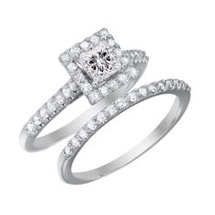 Real 10K solid White gold 2.00ct Princess Brilliant cut Engagement Ring and band