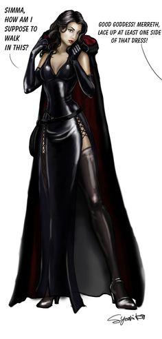 Lady Merreth wears a dress -- by SYoshiko on Deviantart Horror Art, Fantasy Characters, Fantasy Art, Concept Art, Sci Fi, Wonder Woman, Deviantart, Superhero, Cloak