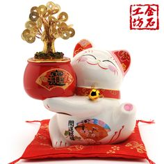 Workshop cash cow Lucky Cat ceramic stone ornaments trumpet with LED lights opened housewarming gift ornaments - eBoxTao, English TaoBao Agent, Purchase Agent. покупка агент