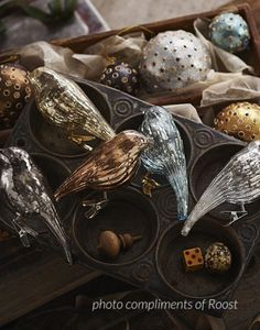 Mercury Glass Clip-On Bird Ornaments