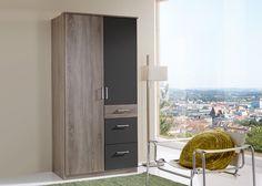 Kleiderschrank Click 90,0 Eiche mit Lava 10370. Buy now at https://www.moebel-wohnbar.de/kleiderschrank-click-90-0-eiche-mit-lava-10370.html