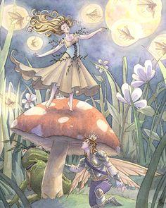 Thumbelina. By Sara M Butcher Burrier: Fantasy, Angel, Fairies, Mermaids. Find her on Etsy.