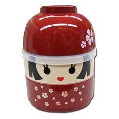 Kokeshi Bento -- HANAKO 2 Tier Bento Box & Miso Soup Bowl