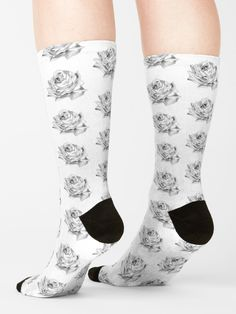 """""""Black and white rose"""" Socks by augustinet 