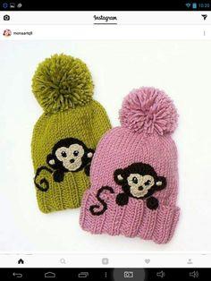 Knit kids pom pom hats with cr