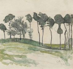 Cuno Amiet (Swiss, 1868-1961), Bäume im Wind [Trees in the wind], 1894. Watercolour over pencil on paper, 24 x 25 cm.
