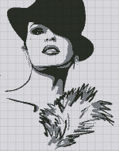 Points de croix *@* Monochrome Lady cross stitch
