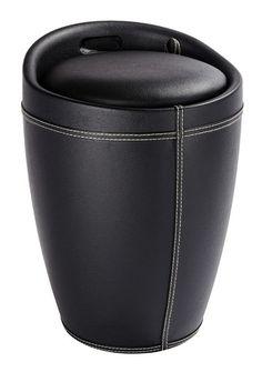 Der trendige Badhocker und Wäschesammler Candy ist aus stabilem ABS-Kunststoff gefertigt. Mit der edlen Lederoptik in schwarz wird das moderne Accessoire zum Hingucker in jedem Bad. Viel Stauraum für Wäsche bietet der praktische Badhocker unter der Sitzfläche.