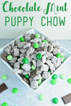 You have to make this chocolate mint puppy chow. It is so delicious and super simple. I love the combination of Chocolate & Mint. This would be perfect to ser… Puppy Chow Mix, Puppy Chow Snack, Puppy Chow Recipes, Chow Puppies, Bulldog Puppies, Snack Mix Recipes, Cereal Recipes, Snack Mixes, Dessert Recipes