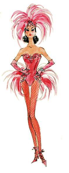 Barbie Fashion Model Collection Silkstone Showgirl by Robert Best Showgirl Costume, Vegas Showgirl, Red Fashion, Fashion Art, Fashion Models, Fashion Illustration Sketches, Illustration Mode, Vintage Fashion Sketches, Fashion Drawings