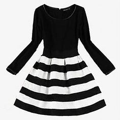 Women's European Style Round Collar Stripes Fitted Long Sleeve Dress