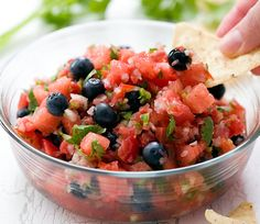 Save the summer recipe to make a bowl of Watermelon Blueberry Salsa.