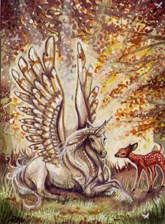 Imagine blue where the touches of gold are on the winged unicorn. Winged Uncorn with Fawn