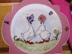 Petite assiette de bord festonné rose avec par TheChinaHutch