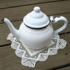 Stout little white enamel teapot ~ cute