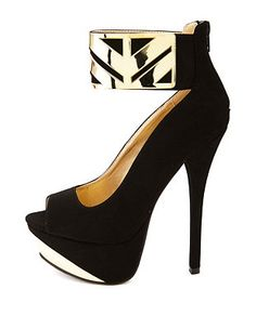 Qupid Gold-Plated Ankle Cuff Platform Heels: Charlotte Russe