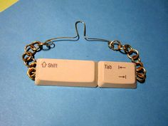 Geek Chic Upcycled Computer ShiftTab Keys Tie Bar by SoBayBaubles,