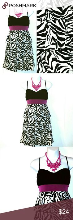 {Fuchsia & Zebra Tiered Dress} Cute and funky little dress, perfect for girls night out. Features a slightly padded bodice and adjustable straps. Excellent pre-loved condition.   Bust: 31 inches (plus stretch) Length: 32 inches  15% off bundles Reasonable offers accepted Speechless Dresses