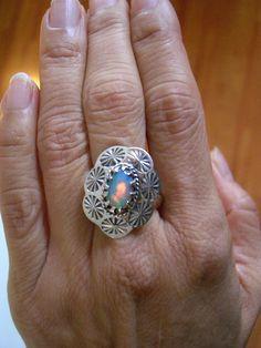 Sz  , Amazing Vibrant Colors, Genuine ETHIOPIAN WELO OPAL Oval Gemstone, 925 Solid Sterling Silver Designer Ring Jewellery! by AmeogemPreciousJewel on Etsy