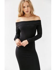 This would be perfect if it had an a-line bottom. Silence + noise Off-the-shoulder Long-sleeve Midi Dress in Black ...