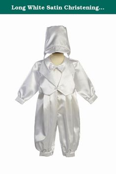 35bb87e87 Long White Satin Christening Baptism Romper with Vest, Bowtie and Hat - XL  (18