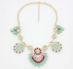 SHY Boutique Madeline statement necklace love the mint and subtle burgundy slight orchid combo