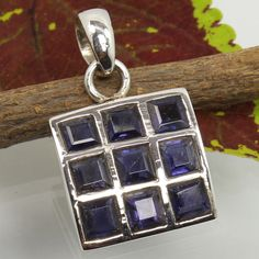 Awesome Pendant 925 Solid Sterling Silver Real IOLITE Square Gemstone Best Gift #Unbranded #Pendant