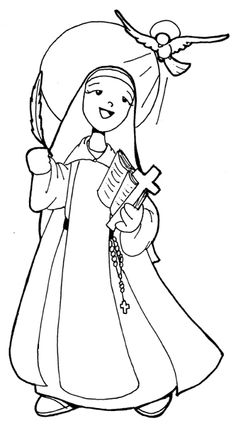St. Teresa of Avila Catholic Coloring page.  She is the patron saint of headache sufferers.  Feast day is October 15th.
