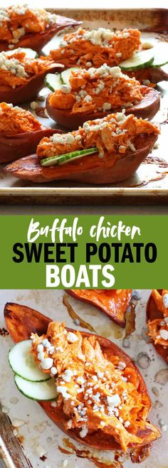 These Shredded Buffalo Chicken Sweet Potato Boats are easy enough for a weeknight dinner, but the flavorful and indulgent enough for a game day treat! Buffalo Chicken Sauce, Shredded Buffalo Chicken, Easy Delicious Recipes, Paleo Recipes, Meat Recipes, Bariatric Recipes, Protein Recipes, Potato Recipes, Recipies
