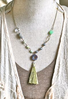 Elizabeth. bohemian beaded tassel necklace. by tiedupmemories