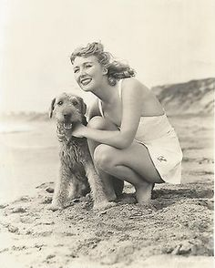 British Actress Muriel Angelus with Airedale c. 1940