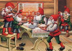 Lars Carlsson Gnomes Ready for x mas Dinner Sweden Tomte Nisse Santa Elf Card Swedish Christmas, Scandinavian Christmas, Christmas Elf, Vintage Christmas, Christmas Ornaments, Christmas Knomes, Baumgarten, Elves And Fairies, Old Postcards
