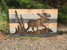 Rustic Moose Silhouette Wood Wall Art