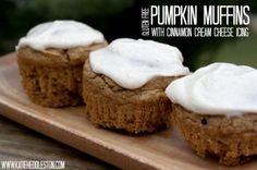 {Gluten-Free} Pumpkin Muffins with Cinnamon Cream Cheese Icing | Healthy Heddleston