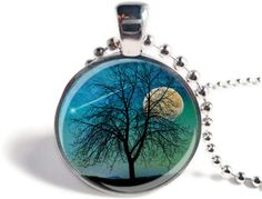 Harvest Moon Pendant Silhouette Tree Pendant by SunnyFoxDesigns