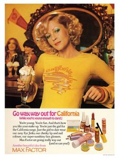 - california, by max factor art print) Vintage Makeup Ads, Retro Makeup, Vintage Beauty, Vintage Ads, Vintage Posters, Vintage Fashion, 70s Fashion, Hippie Fashion, Vintage Stuff
