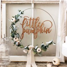 Excited to share this item from my shop: Little Pumpkin Floral Wreath, Baby Shower Little Pumpkin Backdrop, Wreath for Baby Shower, White Pumpkin Hoop Wreath for Nursery Baby Girl Shower Themes, Boho Baby Shower, Baby Shower Signs, Baby Shower Fall, Fall Baby, Baby Shower Parties, Baby Boy Shower, Baby Shower Decorations, Shower Centerpieces