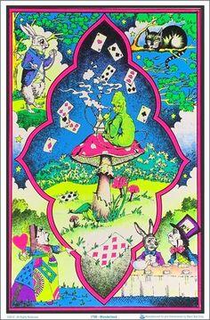 23 x black light poster. Legalize marijuana poster that's sure to pop under the black light. Alice In Wonderland Mushroom, Alice In Wonderland Poster, Alice In Wonderland Aesthetic, Alice In Wonderland Drawings, Alice In Wonderland Pictures, Mushroom Drawing, Black Light Posters, Cat Stickers, Psychedelic Art