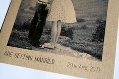 Wedding invitations - engagement photo - vintage style - modern - eco-friendly - bilingual