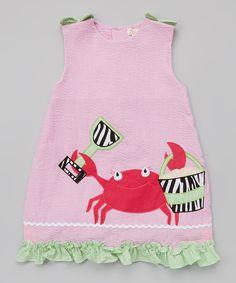 Look what I found on #zulily! Pink Crab Seersucker Ruffle Dress - Toddler by Zubels #zulilyfinds